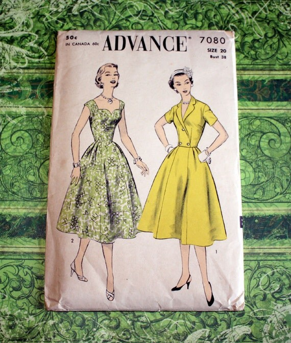 UNCUT FF, 40s or 50s Advance Sewing Pattern - Heart Neckline Dress and Jacket Size 20