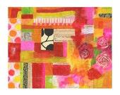 A garden - 11x14 GICLEE PRINT, collage, mixed media, Susan Black