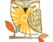 Charles - 5x7 collage owl - LIL ART CARD matted giclee print, owl, collage, Susan Black