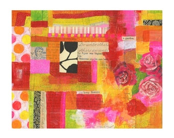 A garden - 8x10 GICLEE PRINT, collage, mixed media, Susan Black