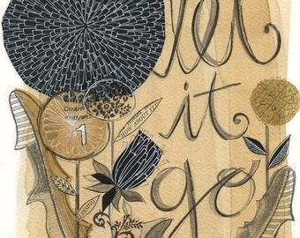 let it go No.1 - 5x7 GICLEE PRINT  botanical collage, Susan Black