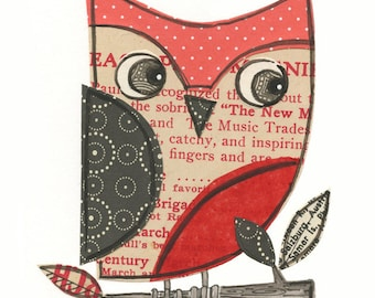 Earl - 5x7 collage owl - LIL ART CARD matted giclee print, owl, collage, Susan Black