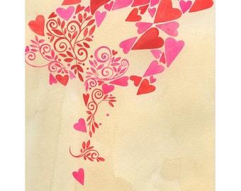 Drifting hearts - giclee print