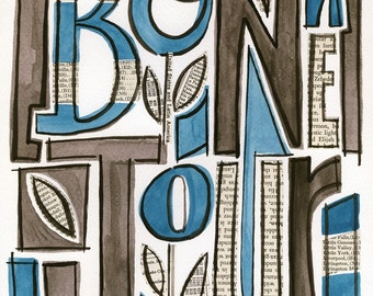 Bon Jour - 8X10 GICLEE PRINT, typographic collage, gouache, Susan Black