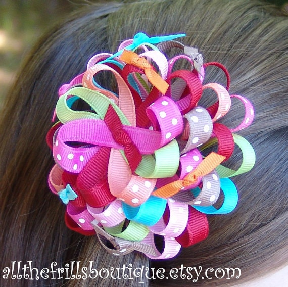 How to Make Ribbon Flower Hair Bows ... Boutique Instructions Guide Pattern... Receive Today