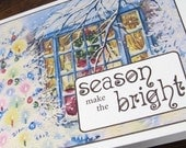 Make The Season Bright -- Beautiful Shimmery Vintage-Print Christmas Cards -- Boxed Set of 8