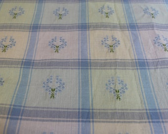 Sweet Blue and Lavender Floral Plaid -  6-3/8 yards