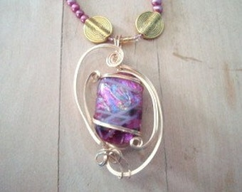 Wire Wrapped Dichroic Cab Necklace