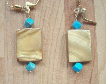 Shell and Turquoise Dangle Earrings