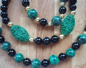 Malachite and Black Onyx 3 Strand Necklace