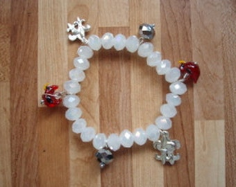 Moonstone Glass Bracelet with Louisville charms