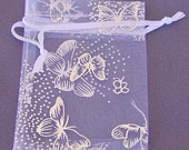 Last lot Organza Bag White with Silver Butterflies 2x3 Inch Twelve Each
