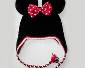 Custom crochet Minnie Mouse ears ear flap hat with a red bow photo prop girls