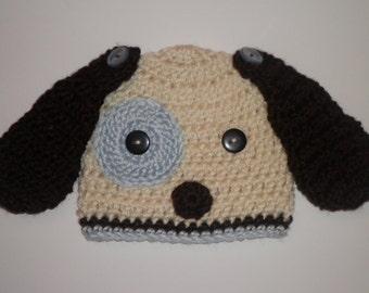 Crochet baby boy blue puppy dog hat photo prop