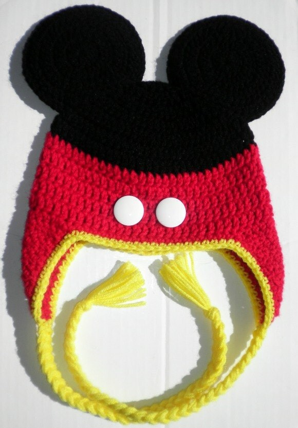 Mickey Mouse Knitted Hat Pattern : Custom crochet Mickey Mouse pants ears ear flap hat photo prop