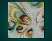 Abstract floral painting artwork etsy art modern green yellow orange