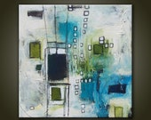 Original modern abstract Great Expectations  13x13 inches hand stretched cotton canvas,Abstract art