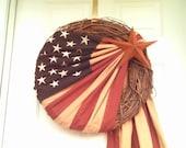 Vintage Look Patriotic Flag Wreath, Americana Wreath, Flag Wreath
