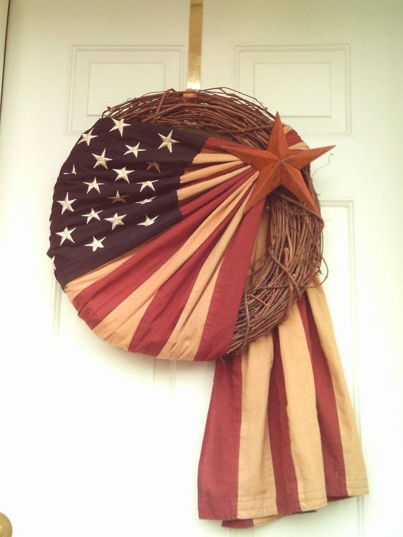 Vintage Look Patriotic Flag Wreath Americana Wreath Flag