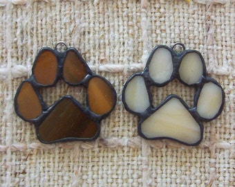 Paw print ornaments pet memorial set of 2 stained glass paws for cat or dog
