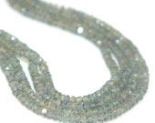 Sparkling Gray-Green Sapphire Faceted Rondelles (4 Inch Strand)