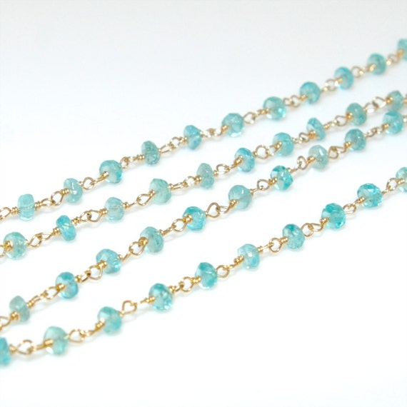 14K Gold Filled Apatite Gemstone Chain (18 Inches)