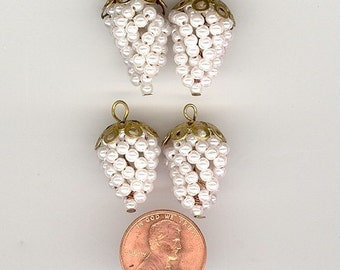 4  Vintage Faux Pearl Grape Cluster Charm Pendants With Brass Bead Caps. Approximately 20-22mm.