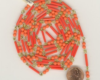 5 Feet Vintage Japan CORAL Rounds AND Bugles Glass Beads &  Brass Linked Bead Chain CH160
