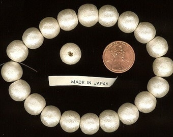 20 Beautiful 12-13mm Made In Japan Vintage Shiny Cream Luster COTTON PEARLS From the 1950's.