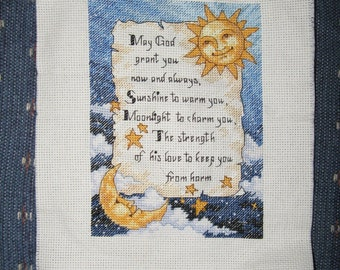 Unframed Cross Stitch Sun\/Moon Saying