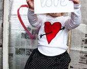 Valentine's Day Heart and Arrow Girl's Shirt or Baby Bodysuit, Leg Warmer set - Baby, Toddler, Children and Kids - Great Photo Shoot Outfit