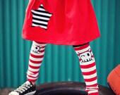 KOOL KID Arm / Leg Warmers for Baby, Toddler, Child, Tween Boy or Girl - Yar Matey - Red White Stripes Skull - Fun and Functional Fashion