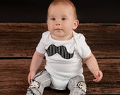 Mustache Design Boys or Girls Clothing Set - Kids Shirt and Arm Warmers or Baby Bodysuit and Leg warmers - Birthday or Baby Shower Gift
