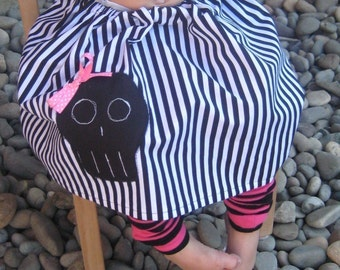 Girls Skull with Hair Bow Skirt and Leg Warmer Set for Halloween or Birthdays - Sizes for Baby, Toddler and Big Kid - Great Gift
