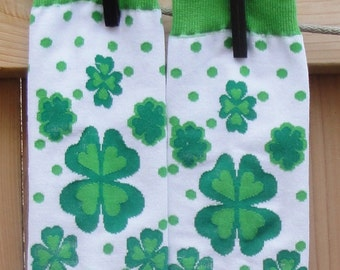 Sale - St Patrick's Day Lucky Clover Leg Warmers for Baby, Toddler, Child - Arm Warmers for Kids, Tweens, Adults - Shamrock Run Accessory