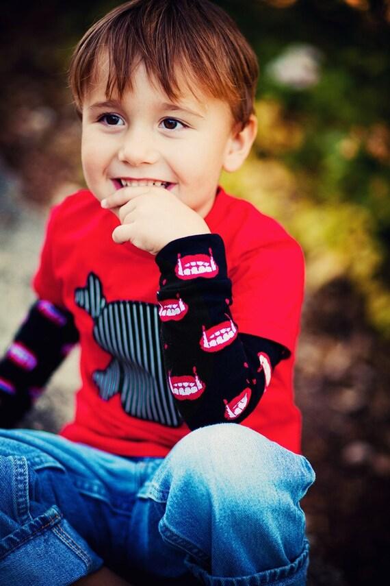 Sale - VAMPIRE Teeth - KOOL KID Arm / Leg Warmers for Baby, Toddler, Child, Tween Boy or Girl - Fun and Functional Fashion