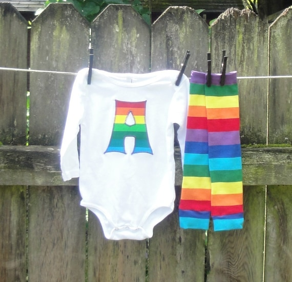 Rainbow Shirt or Baby Bodysuit and Leg Warmer Set for Infant, Toddlers, Kids - You Pick Appliqué Shape - Great Gift or Birthday Party Outfit