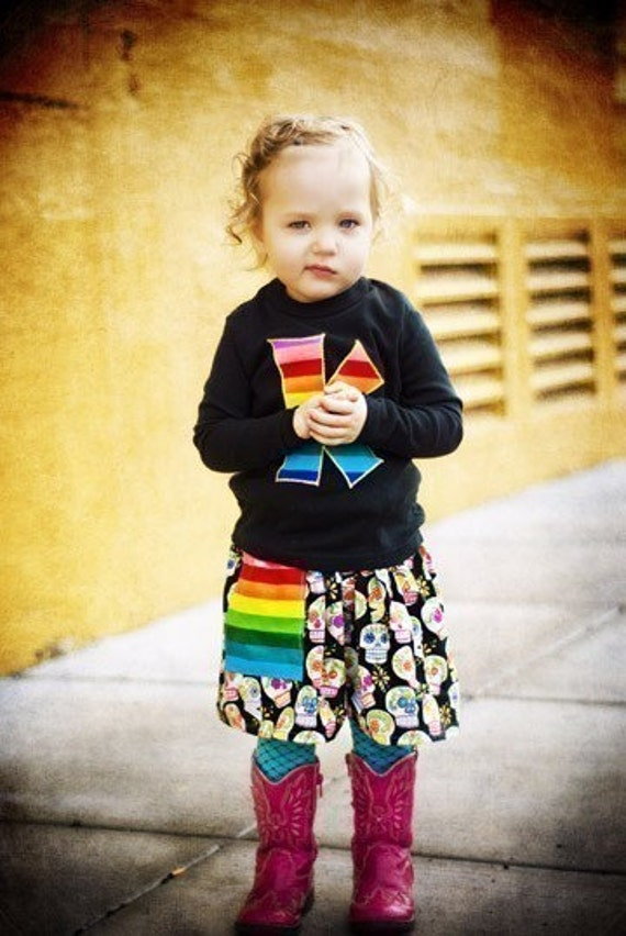 SUGAR SKULLS and RAINBOW STRIPES--THREE PIECE OUTFIT--SHIRT (LONG or SHORT SLEEVE) SKIRT and LEG WARMER SET--AVAILABLE in SIZES 6MOS TO 9YRS-- YOUR CHOICE OF ANY LEG WARMERS IN MY SHOP
