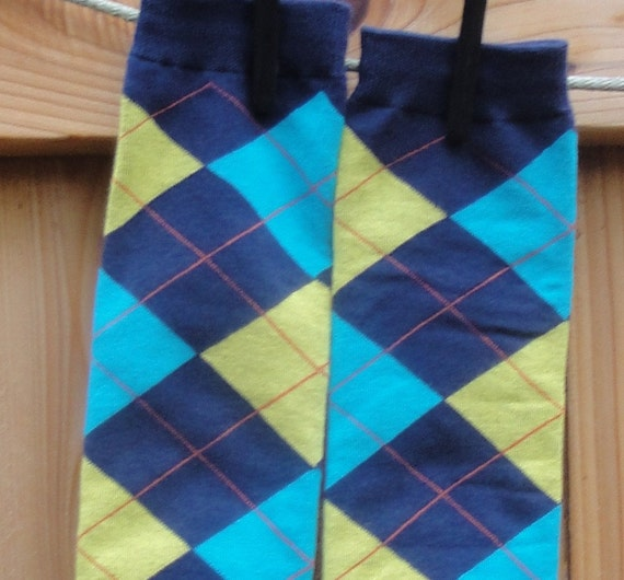 KOOL KID Arm / Leg Warmers for Baby, Toddler, Child, Tween Boy or Girl - Blue, Navy and Yellow Argyle - Fun and Functional Fashion
