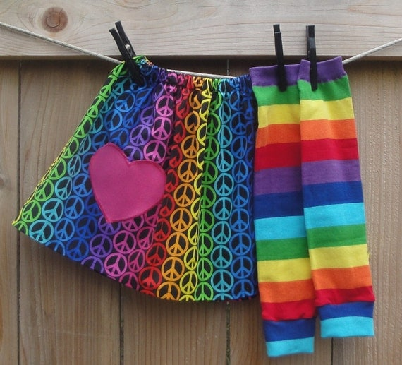 Girls Valentine's Day Skirt and Leg Warmer Set - Peace, Love and Rainbows - Baby, Toddler, Big Kid Sizes - Birthday Gift or Photo Shoot Idea