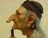 Reserved for Mary    Baba Yaga OOAK  art doll collectible polymer clay OGLD ADO