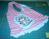 Pink and White Striped Happy Bunny Recycled Tshirt Shopping Bag with Ruffle