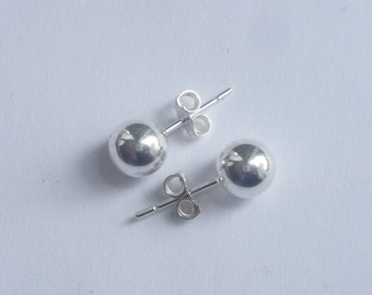 7mm Sterling silver ball  stud earrings, post earring