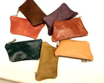 Coloured leather metal zip purse