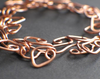 Copper Hammered Wire-wrapped Bracelet