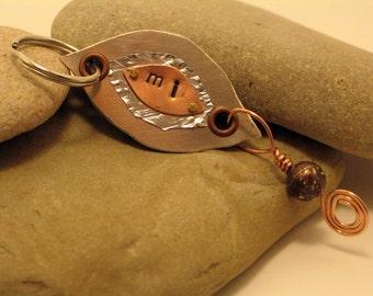 Copper & Aluminum Michigan Key Chain with Copper Firebrick dangle