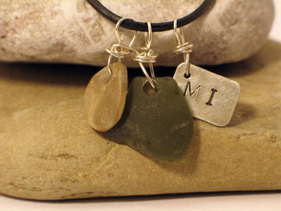 Love Michigan Green Great Lakes Beach Glass Sterling Silver Necklace