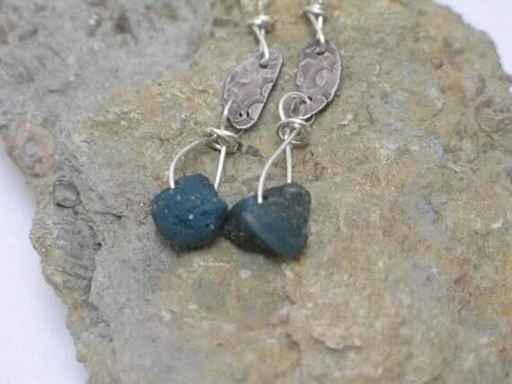 Leland Blue Slag Glass and Hammered Sterling Silver Earrings