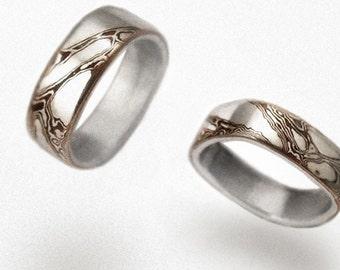 Mokume wedding rings - Geometric Waves