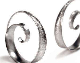 Anticlastic spiral hoop earrings - small
